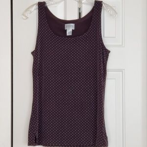 Chicos travler black tank with white polka dots